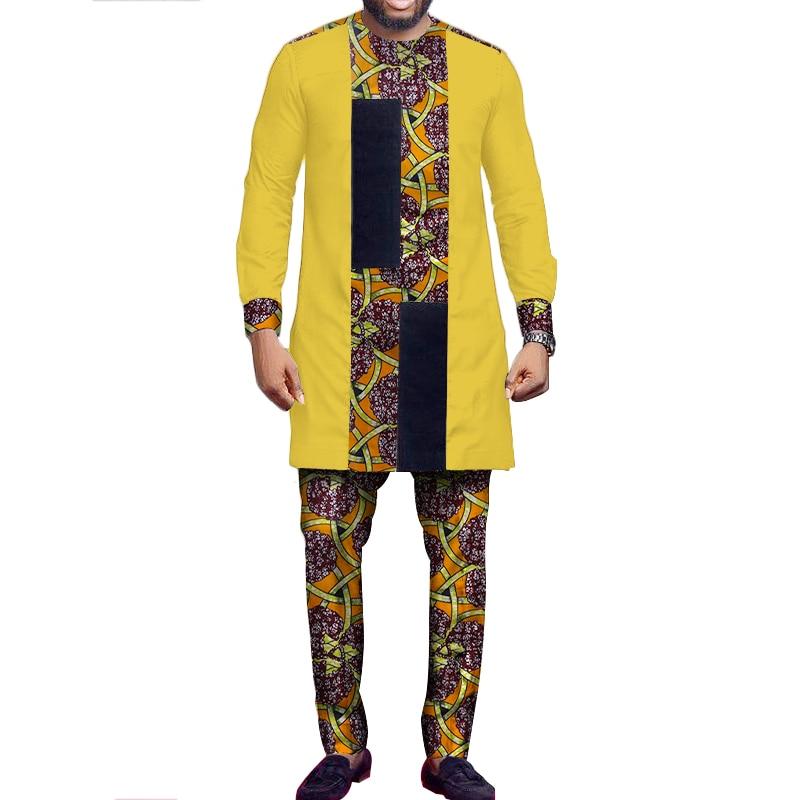 African Suit Men African Print Patchwork Tops And Pants Set Men Long Sleeve Dashiki Shirt Trouser Bazin Riche African Top WYN527