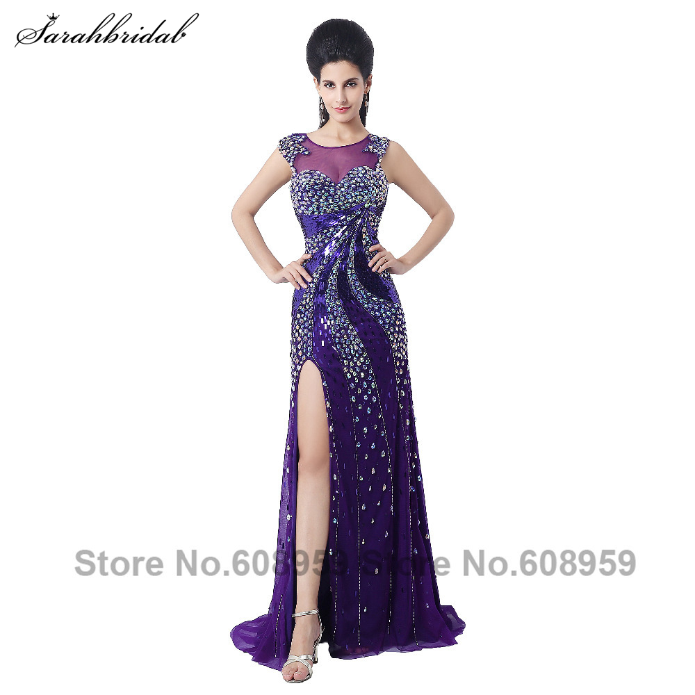 In Stock Fashion Crystal Slit Open Back Formal   Evening     Dresses   Long Special Occasion   Dresses   Robe De Soiree YLN021