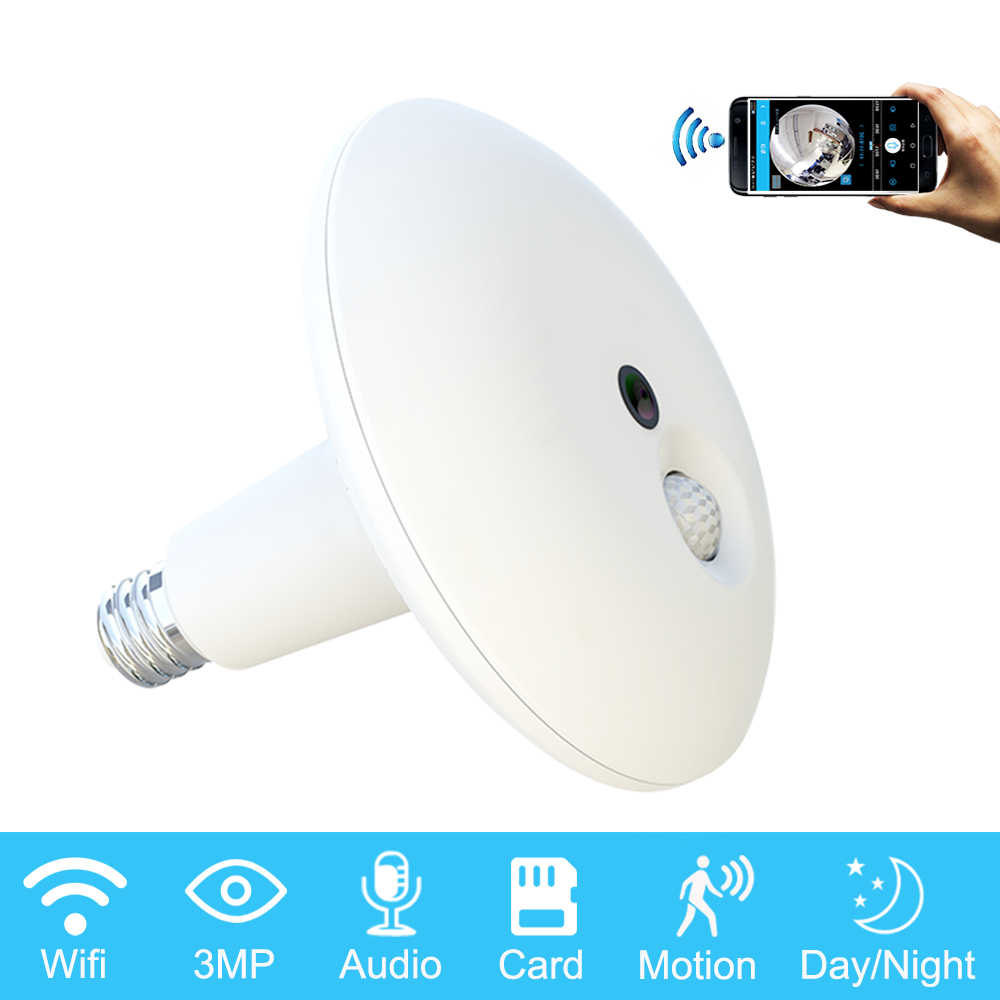 ZILNK 3MP Fisheye Bulb Wifi Camera 360 Degree Panoramic Lamp Light HD Two Way Audio Wireless Camera Bulb IP IR 10M Night Vision