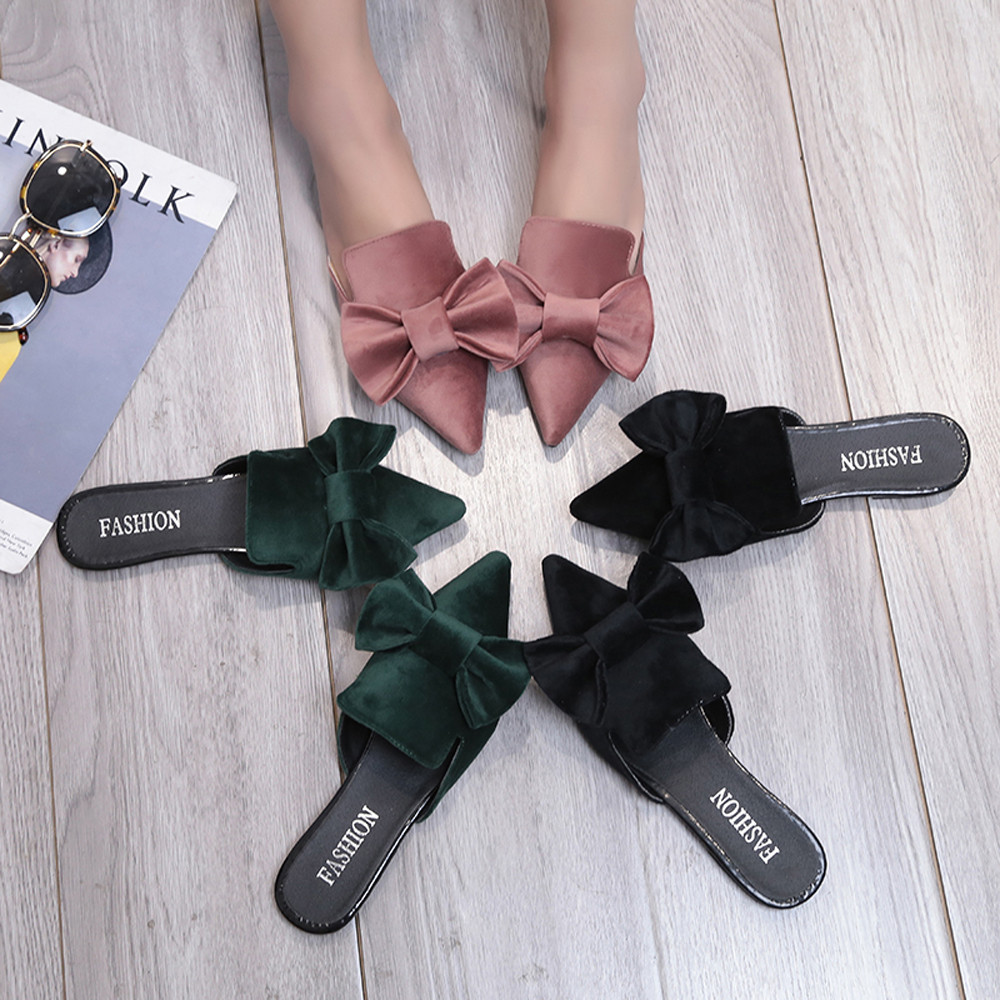 Hot sell women shoes Fashion Women Fashion Solid Color Bow Pointed Toe Flat heel Sandals Slipper Summer Shoes ...
