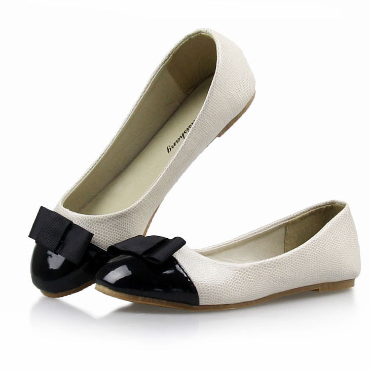 62644d2778fd5 Fashion Bow Round Toe Women Flat Shoes Comfortable Slip-on Ballet Flats for Women  Genuine Leather Lining Ballerinas for Women