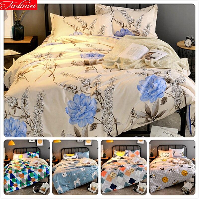 Solar Liberal Flower Floral Winter 3/4 Pcs Pieces Bedding Set Kids Bedlinen Full King Queen Twin Double Size Duvet Cover 1.5m 1.8m 2m Bedsheet Easy To Repair