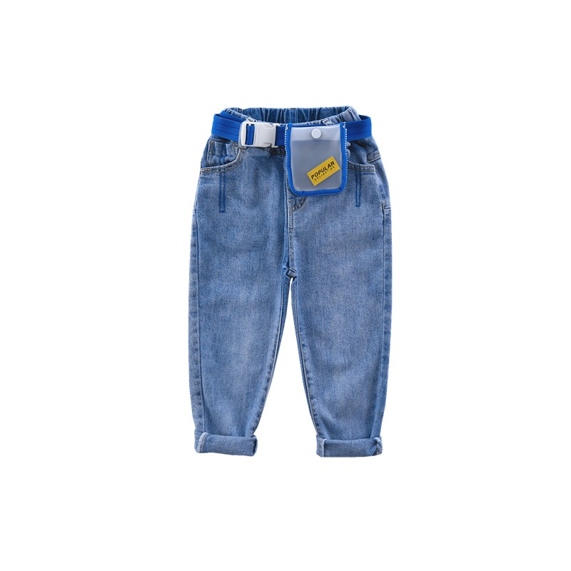 Image 5 - 4 13 years old girls Jeans spring Fashion children's trousers washed Classic blue all match pants Cotton to send waist bag belt-in Jeans from Mother & Kids