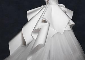 Image 4 - בציר 2018 חתונה שמלות ראפלס Ruched אלגנטי כלה שמלות צווארון V ללא משענת גבוהה סוף חתונת כותנות Vestido דה Noiva