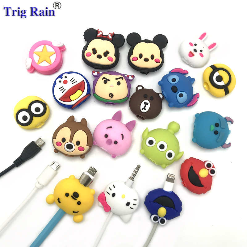 Cartoon Cable Bite Protector For IPhone Andriod Audio Cable Winder Cover Animal Charger Data Line Cord Protector Case