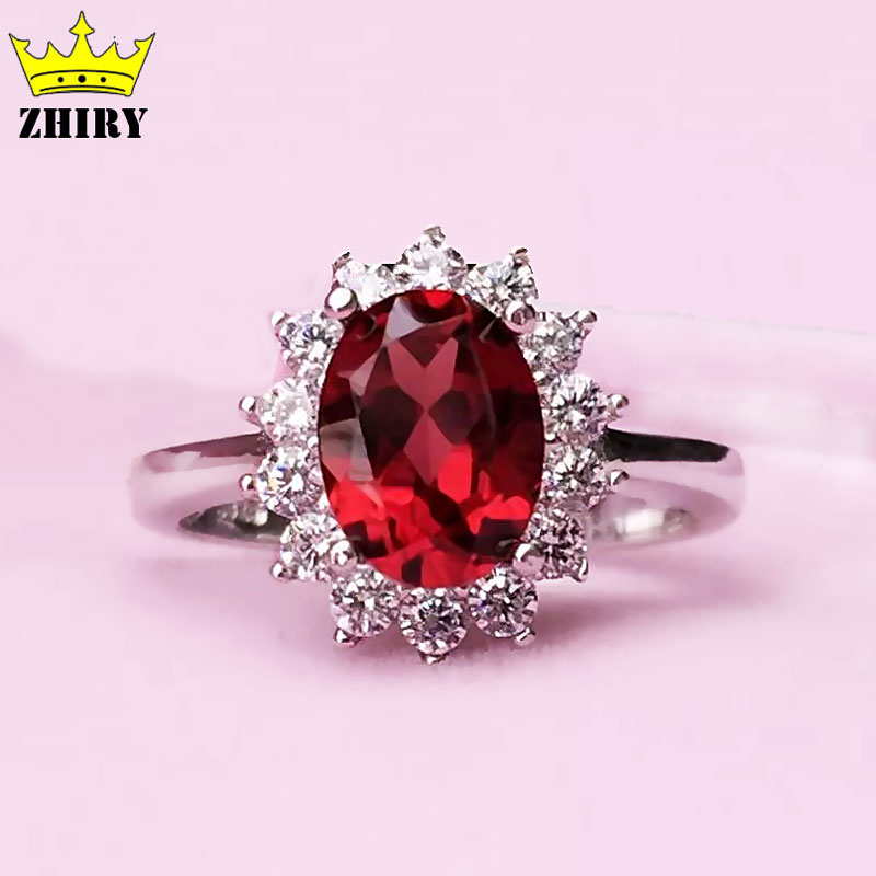 Silver Real Time Quote: Natural Garnet Gem Ring Genuine Solid 925 Sterling Silver