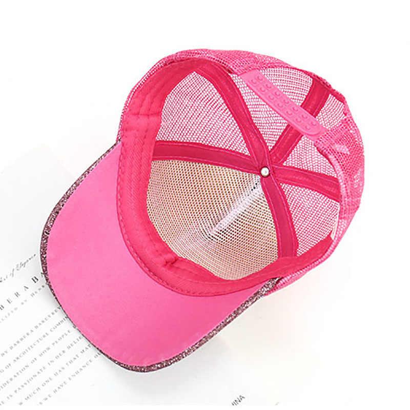 أزياء الاطفال الترتر بريق البيسبول قبعات الصيف قبعة قابلة للتعديل كاب رياضي شبكة الفتيان الفتيات عارضة في الهواء الطلق قبعة الشمس الورك البوب قبعات
