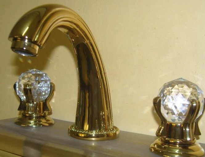Online Buy Wholesale Gold Bathroom Faucets From China Gold: Free Ship Gold PVD 8 Inch Widespread 3 Holes Bathroom