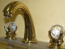Free ship Gold PVD 8 inch widespread 3 Holes bathroom Lavatory Sink faucet Crystal handles tap