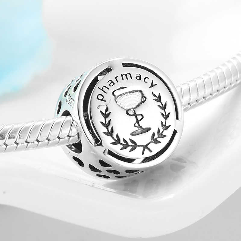 New 925 Sterling Silver Pharmacy Symbol Occupation Sign Diy Beads