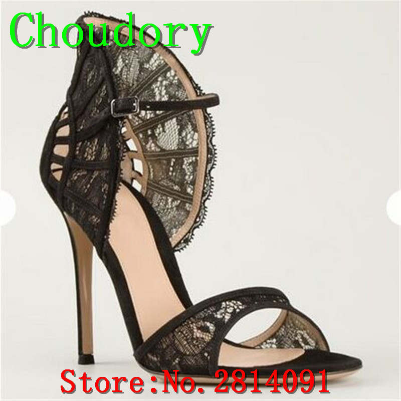 Choudory Flock Buckle Strap Solid Sweet New Fashion Lace Sandals Women Super High Heels Ruffles Thin Heels Pleated Shoes Woman