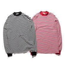 Neue Männer t-shirt Mode RUNDE langärmeligen weißen, rot Gestreiften T-SHIRT Mann-stück Plus Size drop shipping hohe qualität