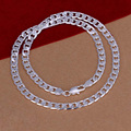 20 inch 925 silver men jewelry fashion 925 sterling silver jewelry 6 mm flat chain necklaces