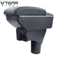 Vtear For Nissan Sunny Versa armrest box USB Charging heighten Double layer central Store content cup holder ashtray accessories