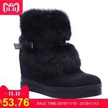 980f4c55cfda TIANMIMI Winter Black Snow Boots Women Shoes Hidden Wedges Heels Ladies  Ankle Booties Platform Fur Casual Shoes Mujer Botas