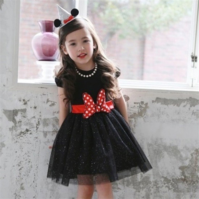 Summer New Baby Girl Lace Dress For Party Birthday Cartoon Mouse Bow 3-8 Age Girls Kids Princess Infant Clothes Vestido new summer pink children dresses for girls kids formal wear princess dress for baby girl 3 8 year birthday party dress