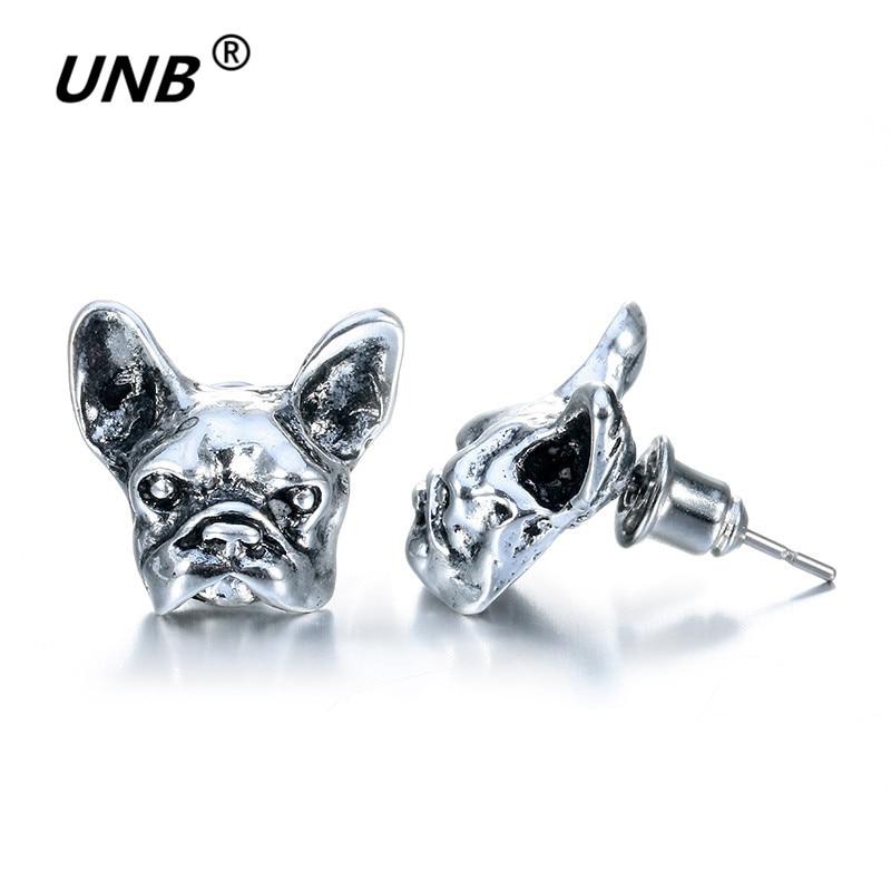 QIAO LA Official Store 2017 New Summer Style Hippie Chic French Bulldog Stud Earrings Elf Ears Cuff Pendiente Animl Dog Earrings for Women Fine Jewelry