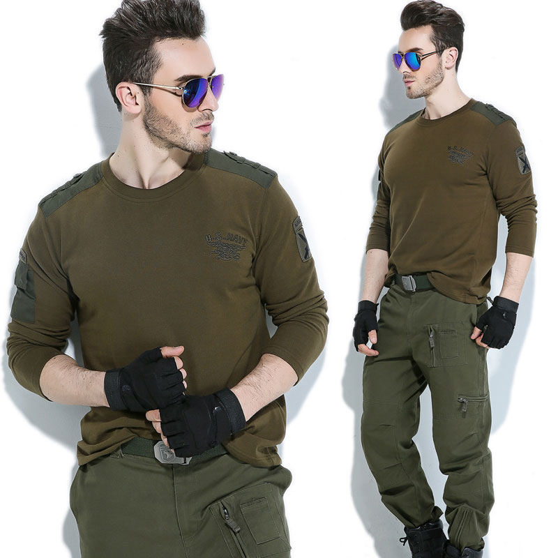 US NAVY Tactical T-shirt Men Military Style SWAT Combat Tee Shirt Army T Shirt Men Casual Cotton Long Sleeve Breathable Tee Tops