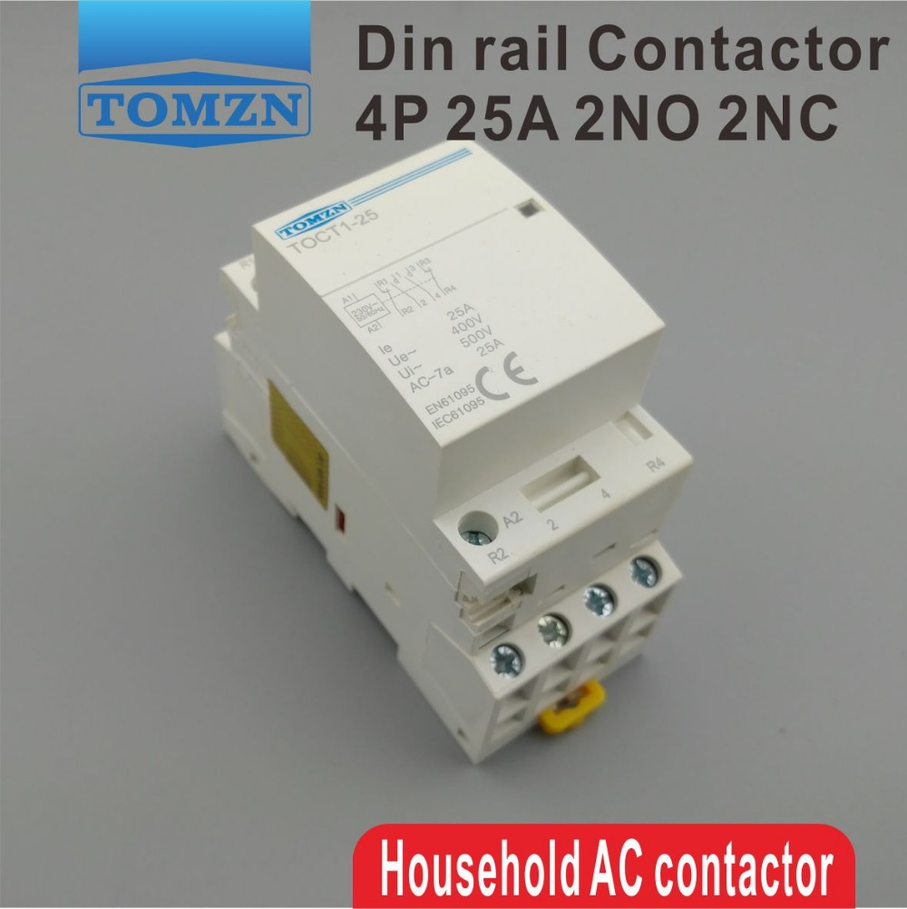 TOCT1 4P 25A 2NC 2NO 220V/230V 50/60HZ Din rail Household ac Modular contactor free shipping gpct1 2p 16a 25a 220v 230v 50 60hz din rail household ac contactor 2no for household home hotel resturant