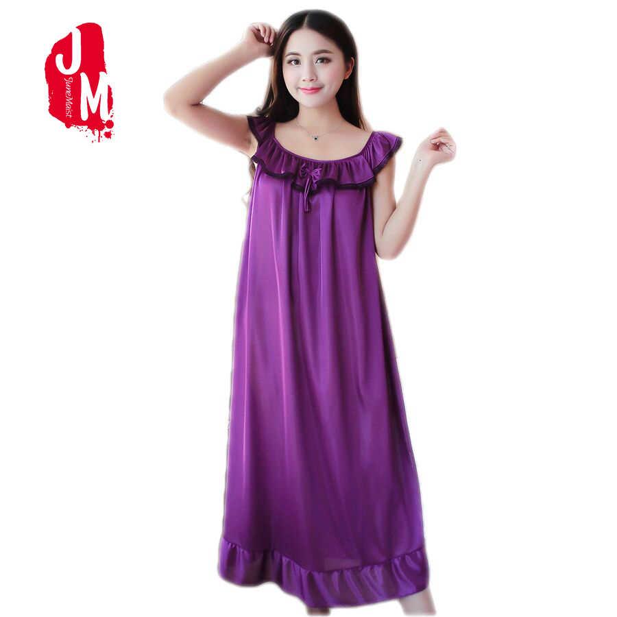 ... Women Nightgowns Silk Satin long Night Dress Sexy Spaghetti Strap  V-Neck Lace Home Dress ... 28f46b8ca