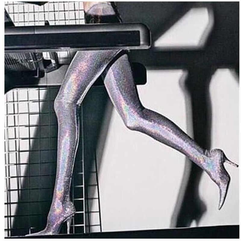 Bling Bling pantalon cuissardes bottes femmes argent or Sequin Stretch Stilettos paillettes taille bootcut parti chaussures à talons hauts femme