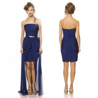 Simple Cheap Strapless Short Frong Long Back Satin High Low Mermaid Royal Blue Prom Dresses With