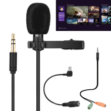 R955 3.5mm Jack Portable Microphone Speeching Microphone Condenser Clip-on Lapel Lavalier Mic Wired Mic Fit for iPhone PC dagee dg 001mic universal 3 5mm jack wired nylon housing microphone for pc black 200cm