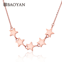2016 New Unique Cute Maxi Necklace 5 Stars Pendant Necklace For Women 316L Stainless Steel Rose