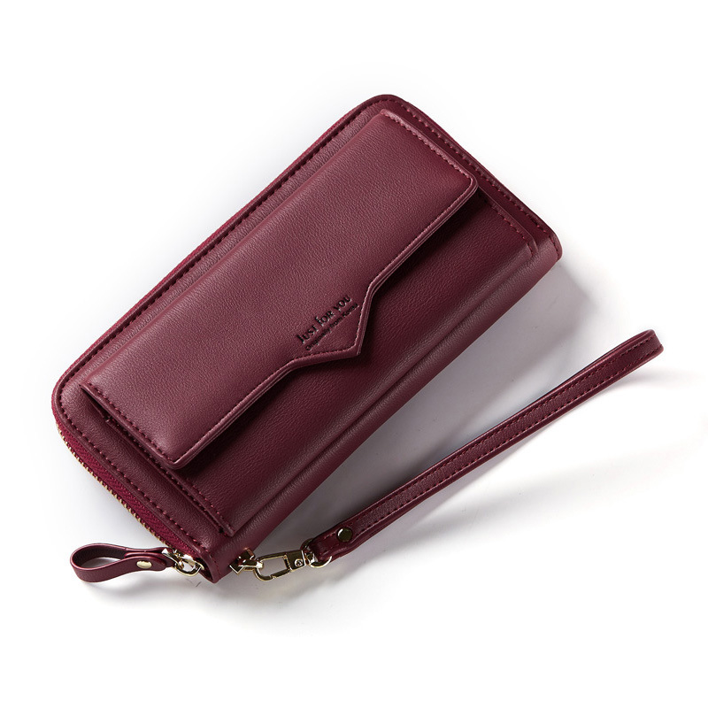 Arsmundi New 2018 Wristband Women Walle Purse Simple Pure Color Soft Face Long Multi Card Money Clip Long Phone Clutch Purse