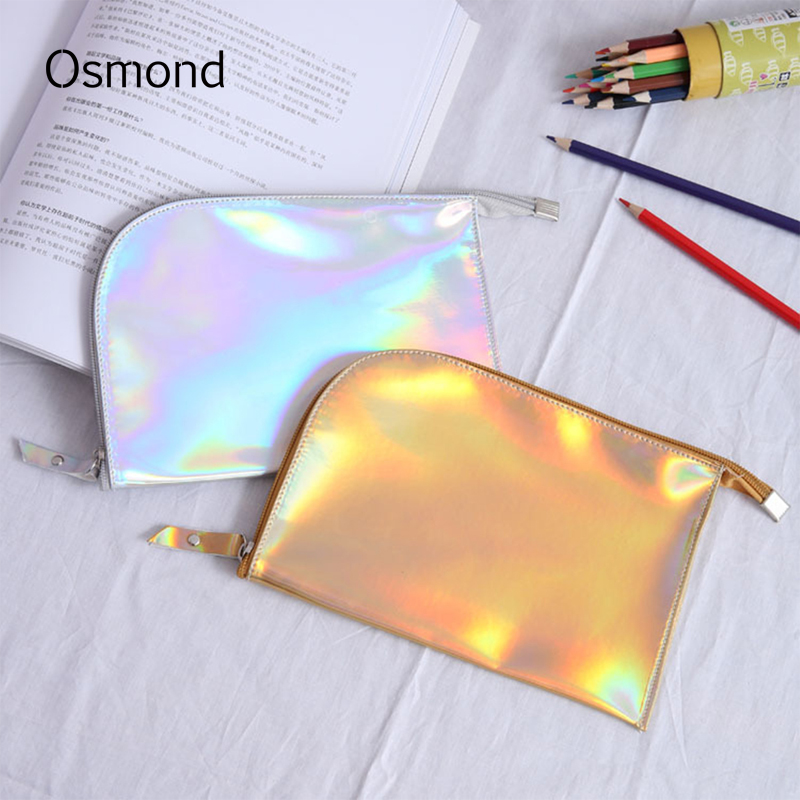 Osmond Hologram Laser Cosmetic Bags Women Cosmetic Cases Zipper Small PU Leather Makeup Bag Travel Envelope Case For Lady Summer 2015 vintage hologram bag folding hand strap zipper day clutch bag laser hologram envelope bag