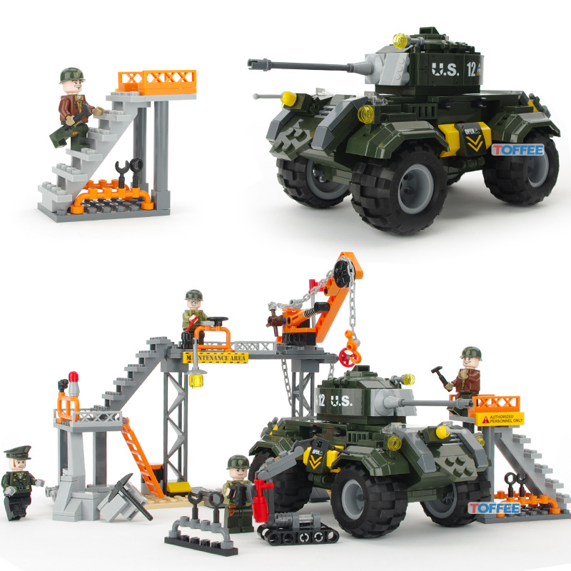 198pcs Ordance Factory MILITARY Car Soldier SWAT World War 2 Army Building Blocks Brick figure Educational Toy Children Boy Gift xinlexin 317p 4in1 military boys blocks soldier war weapon cannon dog bricks building blocks sets swat classic toys for children