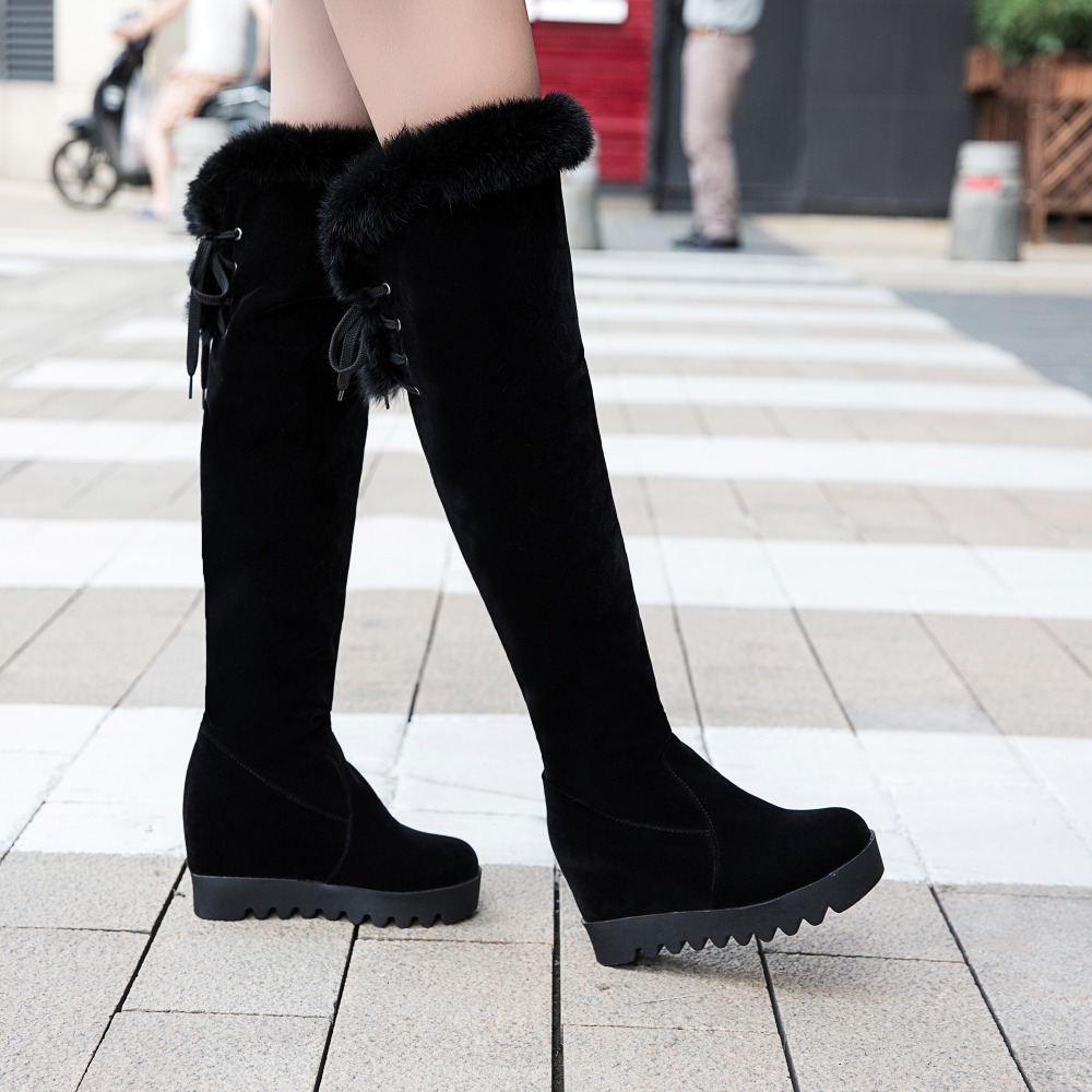 ФОТО Height Increasing women boots Flock leather long boots high heels Wedges Knight boots Platform winter Over-the-Knee warm boots