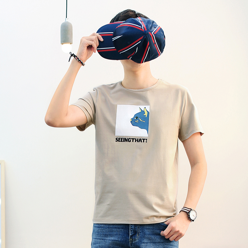 Summer cotton t shirt mens 3D funny cat head print mens T-shirt street casual bodybuildi ...