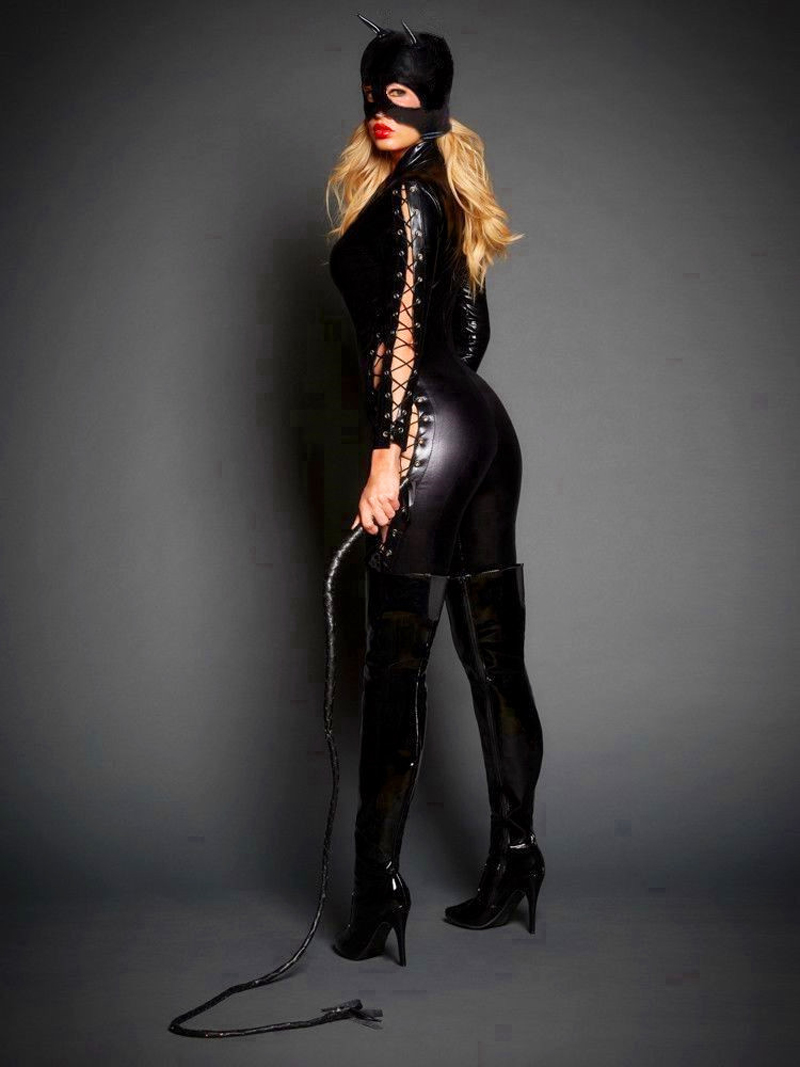 a2e0ad54eb8 Newest Sexy Catwoman Cosplay Catsuit Women Lace Up Zipper Jumpsuit Cat  Mistress Role Play Halloween Costume With Mask-in Sexy Costumes from  Novelty ...
