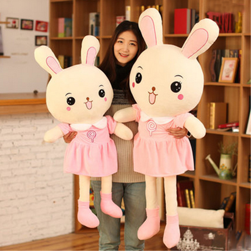 Fancytrader Huge 150cm Giant Lovely Cartoon PINK Bunny Plush Doll 59inch  Big Stuffed Rabbit Toy Pillow Girl Present stuffed animal 120 cm cute love rabbit plush toy pink or purple floral love rabbit soft doll gift w2226