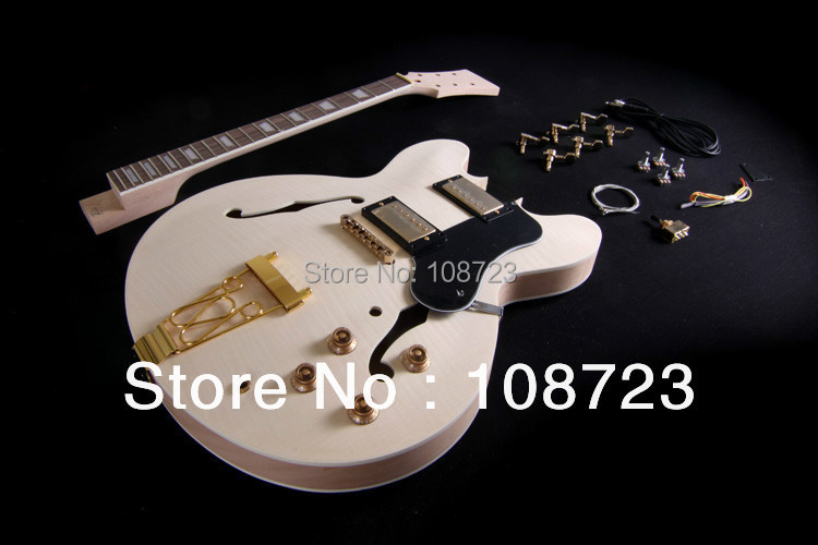DIY Semi Hollow Body Electric Guitar For Jazz  Double Cutway Guitar Kit ES-335 hot electric guitar jazz hollow body guitar black color chrome parts customised headstock shape