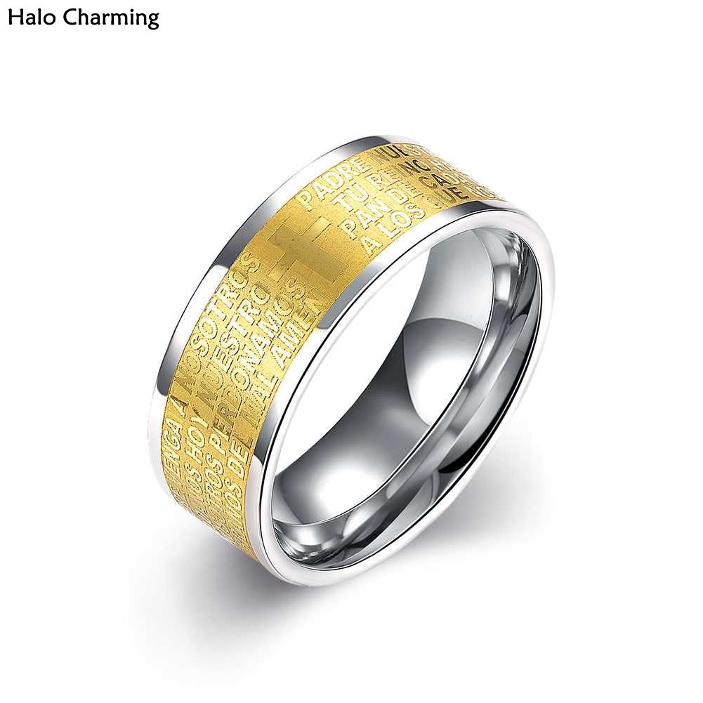 High Quality Silver Plated Ring Men Letter Stainless Steel Party Fashion Jewelry Cross Decoration