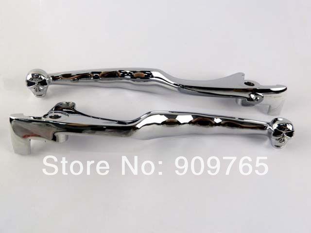 pair Skull Chrome Brake Clutch Lever for 1987 2010 Kawasaki Vulcan VN 1500 1600|vn 1500|kawasaki vn 1600|lever clutch - title=