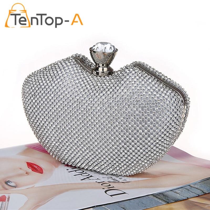 TenTop A Mini Bags Women s Full Side Diamond Evening Bag Peach Heart Shape Crystal Clutch