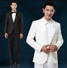 Singer dance stage clothing for men suit set with pants 2017 mens wedding suits costume groom formal dress tie white black 3XL