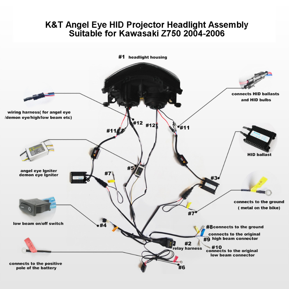Kawasaki Z750 Wiring Diagram Explained Diagrams Kt Headlight For 2004 2006 Led Angel Eye Red Demon Bayou 300
