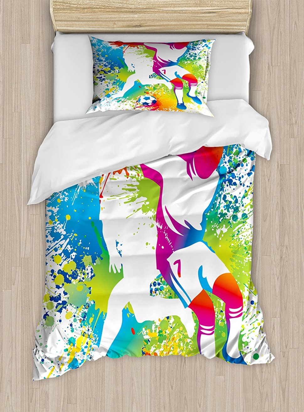 Youth Duvet Cover Set, Football Players with a Soccer Ball and Colorful Grunge Splashes Competition Sports 4 Piece Bedding Set