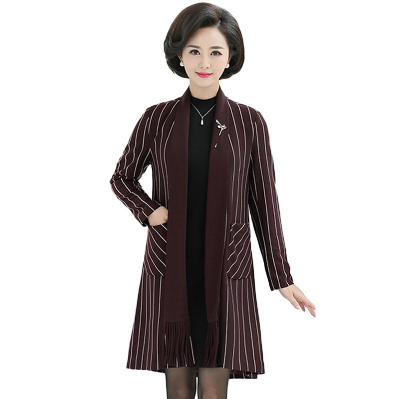 New Striped Windbreaker coat Women Spring Autumn Korean Slim Long   Trench   coats Women's High quality Casual Cardigan Overcoats