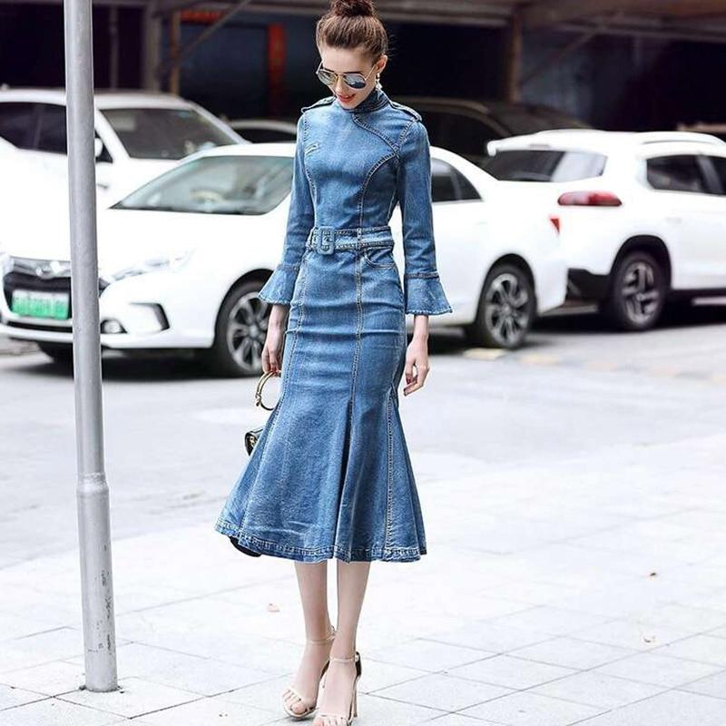 Robe en denim à manches longues bleu jean robe faemal long maxi vintage sexy badycon fête dames élégantes robes en denim femmes 2019