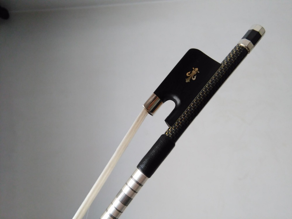 1 PC Qualiy Gold wire Pro inlay Nice Quality Bass Bow 3/4 Ebony Frog with Carved Flower 2 pcs quality cello bow carbon fiber bow stick ebony frog one silver wire inlay and one with red wire inlay white bow hair