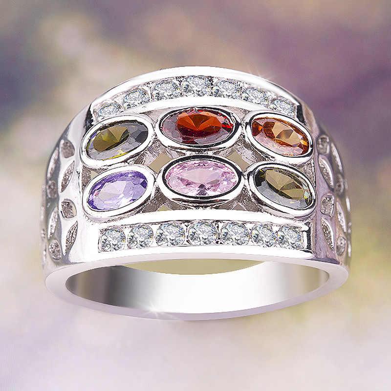 Mistério feminino arco-íris oval anel boho 925 prata cz pedra dedo anel do vintage festa de casamento anéis para as mulheres 2019 presentes do ano novo