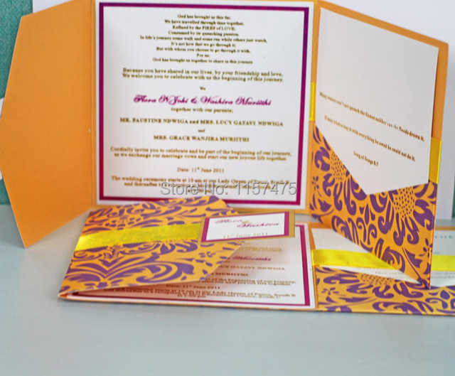 hi5011 customized red pocket fold invitation cards yellow gold