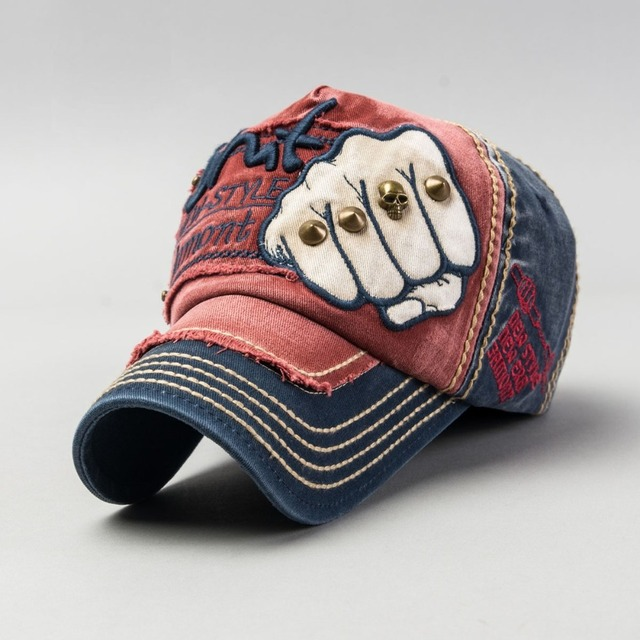 2016 Korean Men And Women General Purpose Lovers Hat Pure Cotton Leisure Time Rivet Fist Pattern Adjustable Baseball Hats