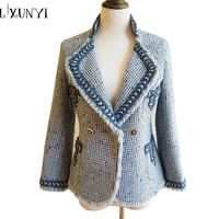 High Quality Blue Wool Tweed Jacket 2018 Autumn Winter Women S Jacket Coat Classic Ladies Embroidery