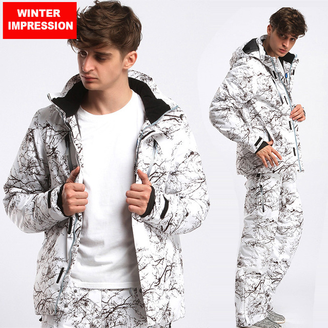 Winter Impression New 2018 Male Ski Suits Jacket+Pants Men's Waterproof Breathable Thermal Cottom-Padded Snowboard Windproof